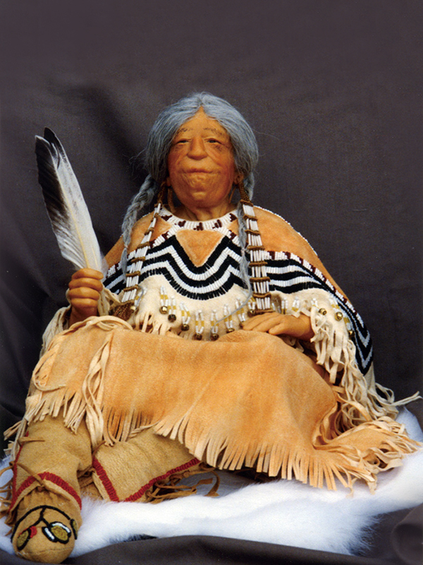 Nez Perce Woman 1999 Polymer clay, leather, seed beads