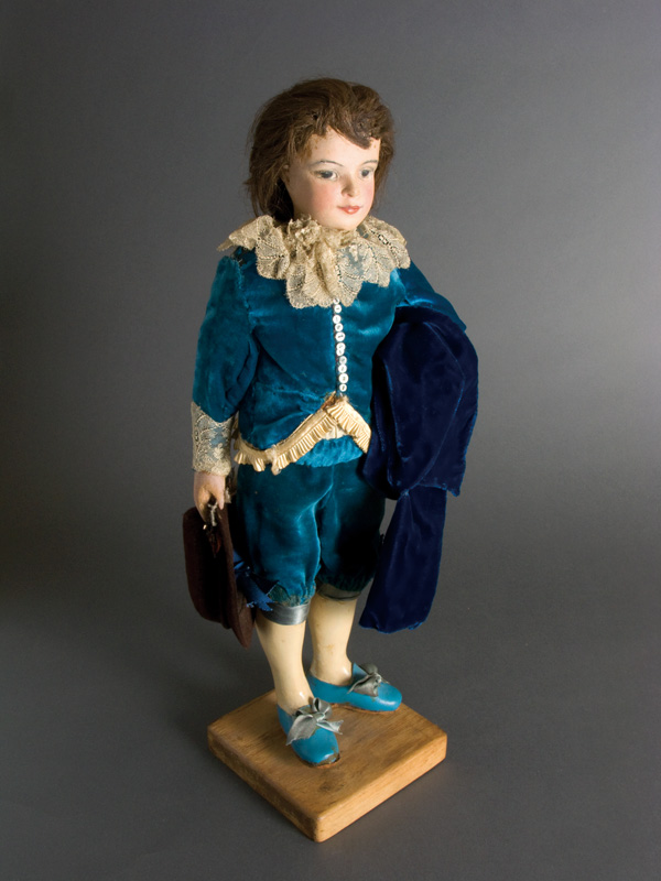 Blue Boy Carved plastic wood. Dressed authentically by Chris Gorman from the famous painting