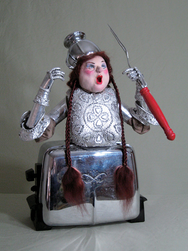 Brunnhilda, mechanical figure 1998 Paperclay, appliances and cutlery, umbrella parts