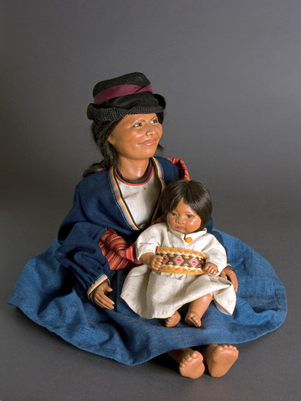 Andes Mother and Child 1974 papier mache, wood, leather