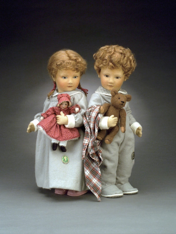 "Babes in Toyland - Timothy & Rosemary Made in 1983 17"" MEDIUM: Molded Felt, jointed body. LE50 PHOTO:  PAGE:"