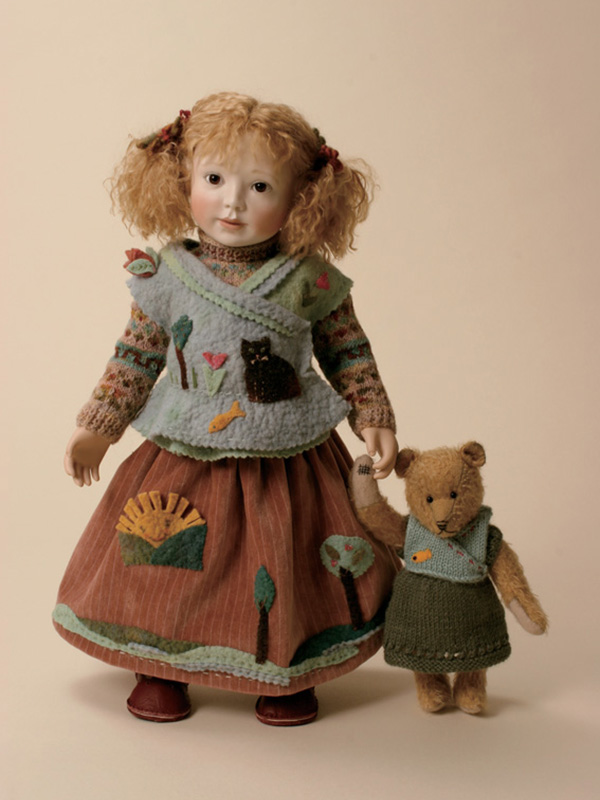 Marigold play  2008  porcelain head and hands fully jointed, carved lime-wood body, mohair wig